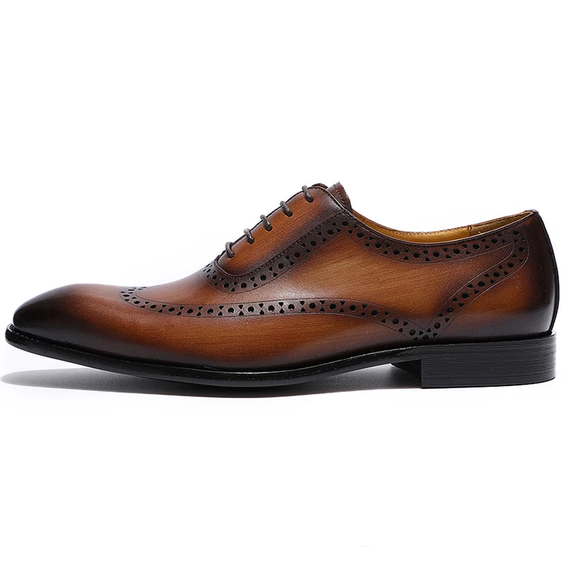 Giosuè Brogue Wingtip Pointed Toe Oxford Shoe
