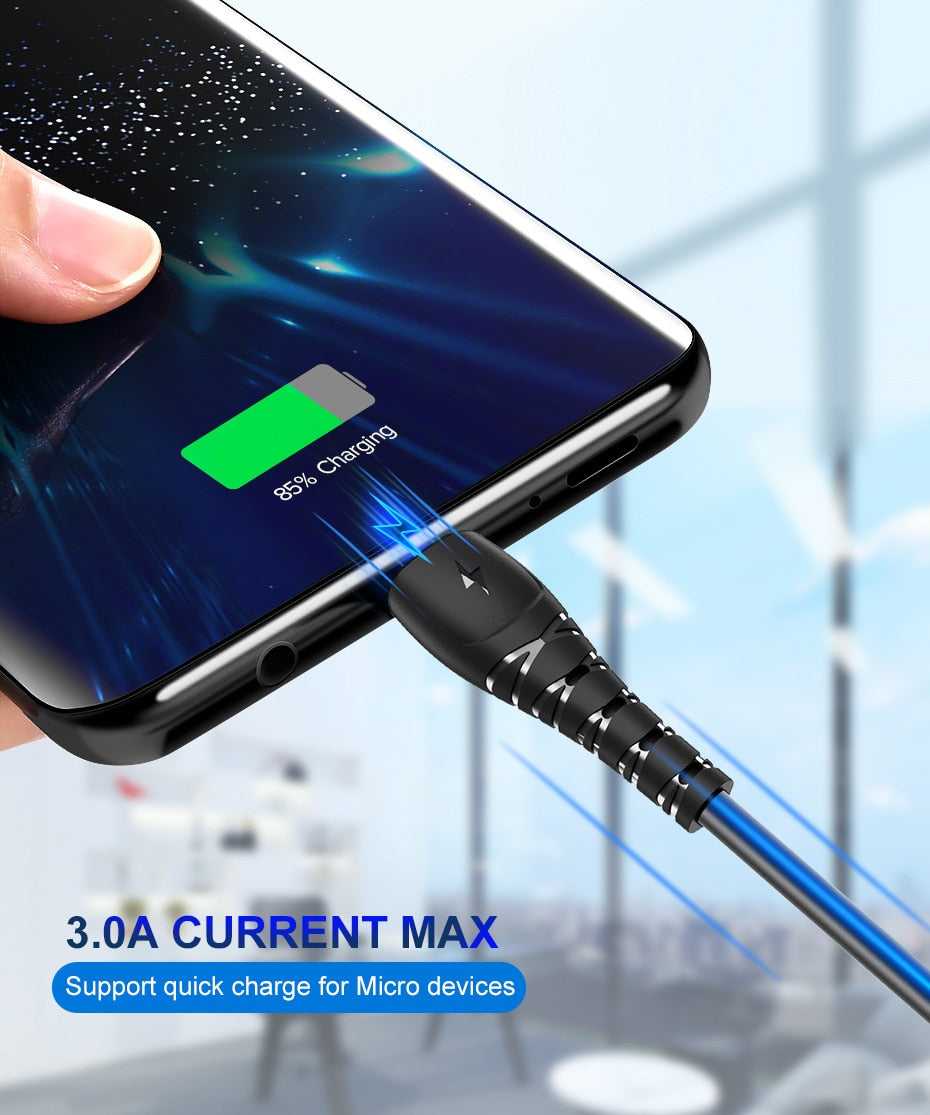 Micro USB Cable 3A Fast Charging Data Charger USB Cable For Androids Phones