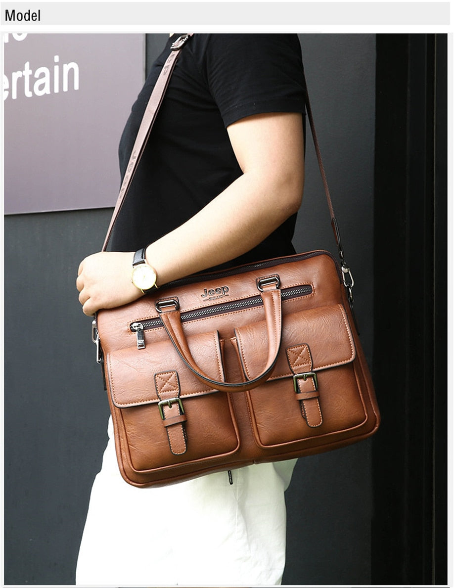 LEATHER MEN BUSINESS BRIEFCASE