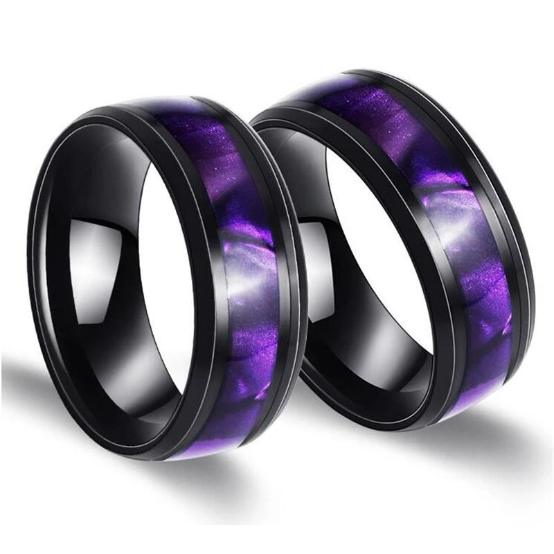 Unisex Gradient Purple Color rings 316L Stainless Steel