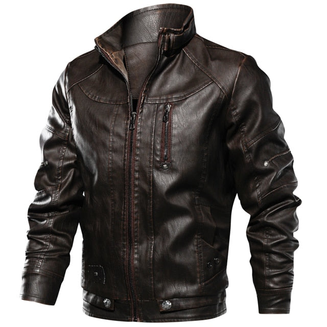 Mens Zipper Leather Jacket Coats Slim Fit Motorcycle Pu Leather