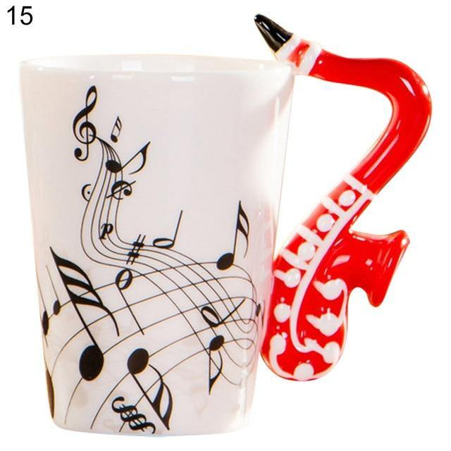 Creative Guitar Music Note Ceramic Coffee Mug Home Office Drinkware