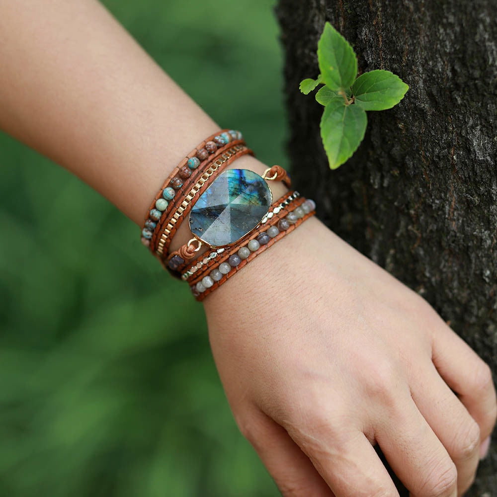 Handmade Natural Stones 5 layer Leather Strap Bracelet