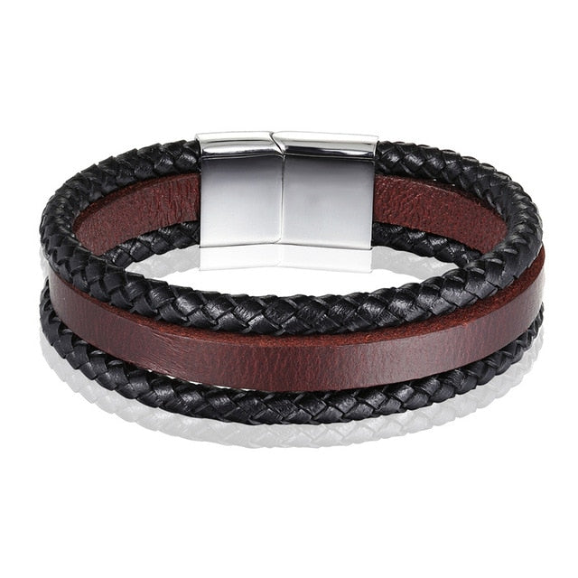Unisex Handmade Bracelet Stainless Steel Genuine Leather