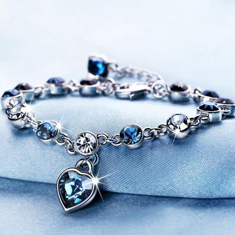 Ladies Ocean Heart Bracelet Austrian Crystal Zircon