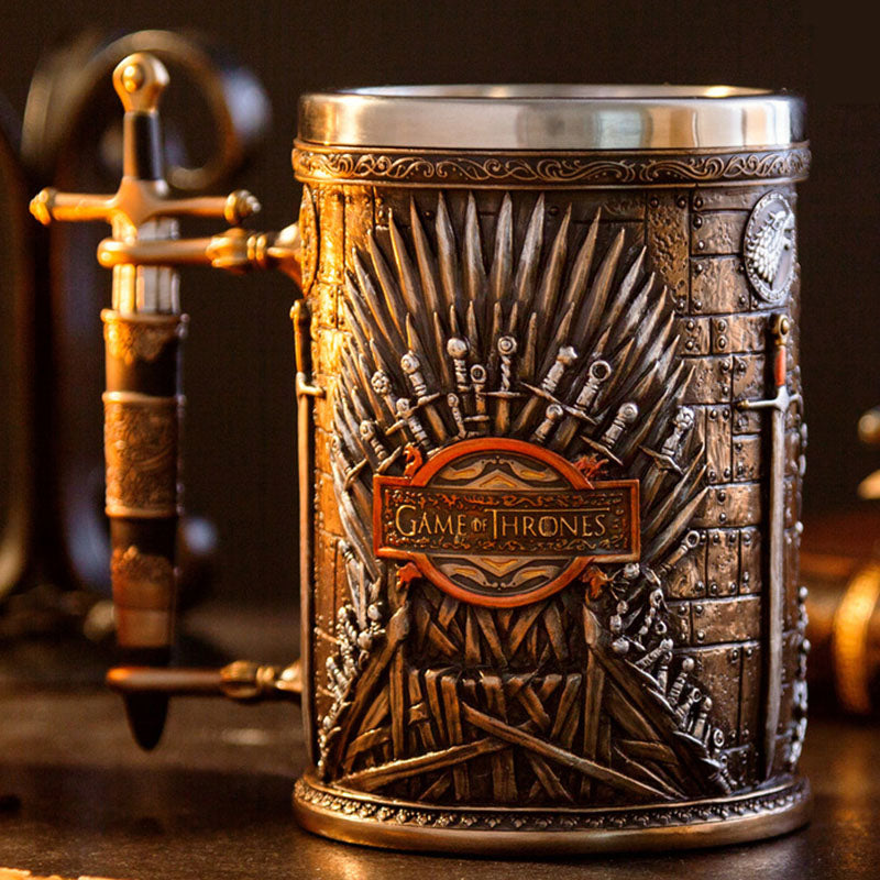 Medieval Beer Mug Iron Throne Sword Tankard Stainless Steel Resin 3D Coffee Cup