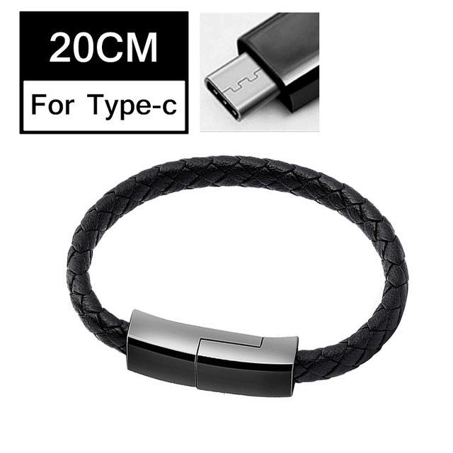 Portable Bracelet Data Cable 5V/2.4A Fast Micro USB Charging Cable Type C