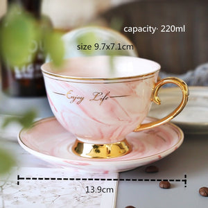 Nordic Style Elegant Coffee Cups and Saucers Handmade Ins Golden Milk Cup Set