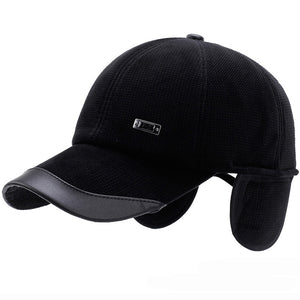 Warm Autumn Winter Baseball Cap Men Leather Brim with Ear Flap