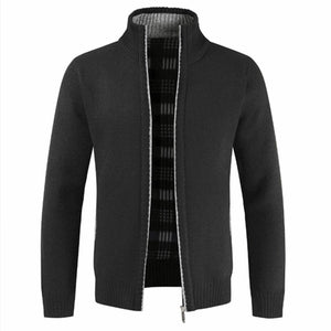 Thick Warm Collar Zipper Jacket for Men Solid Cotton