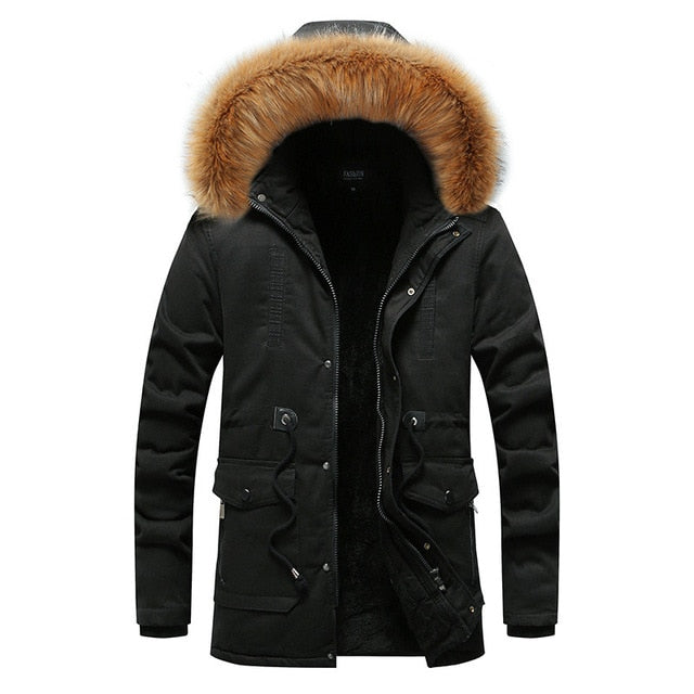 Men'S Hooded Winter Jacket  Casual Slim Thick Warm Coat Long Overcoat
