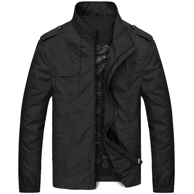 Men's Autumn Winter Casual Zipper Stand Collar Pocket Pure Color Jacket