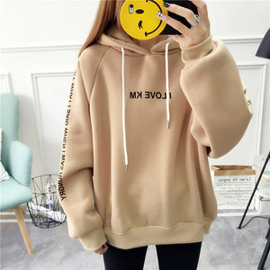 Hooded Printed Pullover Women Thick Loose Sweatshirt
