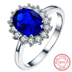 Natural Blue Sapphire Stone Ring Real Solid 925 Sterling Silver