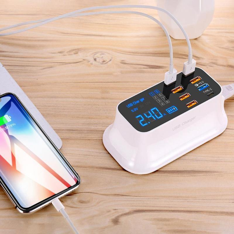 8 Ports Quick Charge 3.0 Led Display USB Charger For Android iPhone