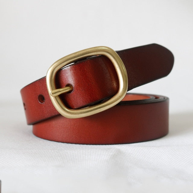 Women's Belt Genuine Leather Gold Pin Buckle Strap Fancy Vintage for Jeans