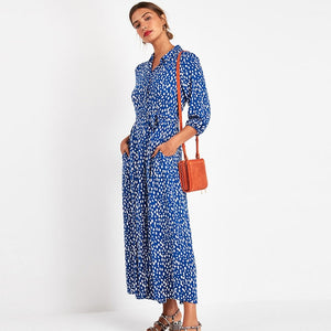 Floral Print Maxi Dress Women Three Quarter Sleeve