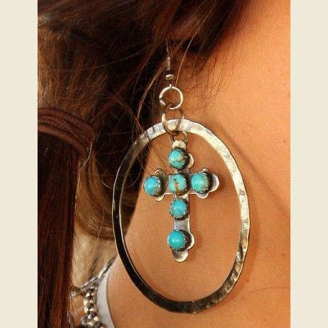 Big Circle Drop Earrings Vintage Blue Stone