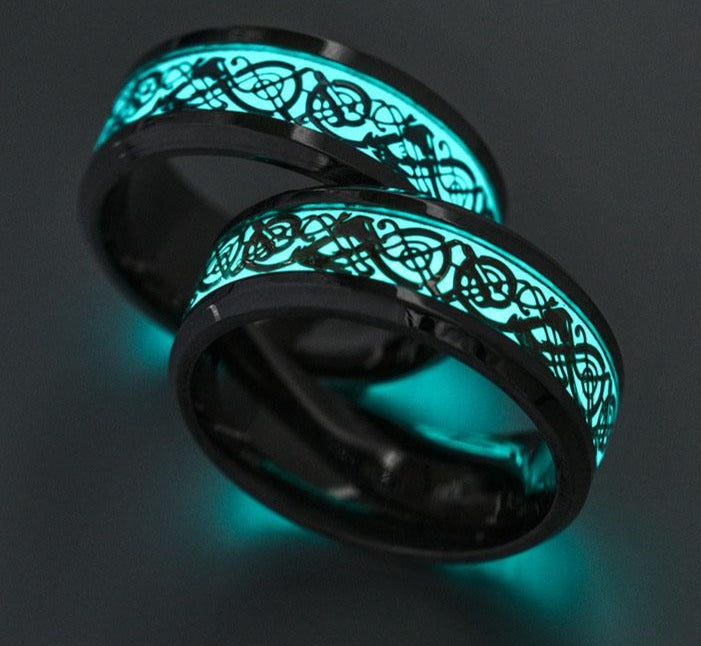 Rings For Men Women Jesus Cross stainless steel Glow In Dark Black Blue