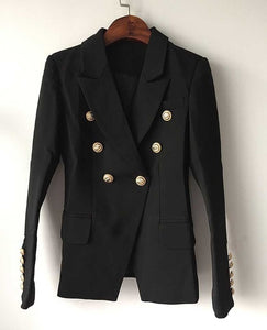 Top Quality Blazer Jacket Women's Double Breasted Metal Lion Buttons