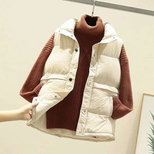Winter Warm Women Sleeveless Vest Cotton Padded
