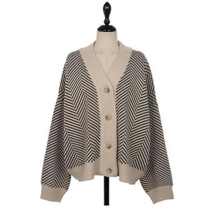 Casual Knitted Cardigan Oversize Button Front Contrast Stripe - soqexpress