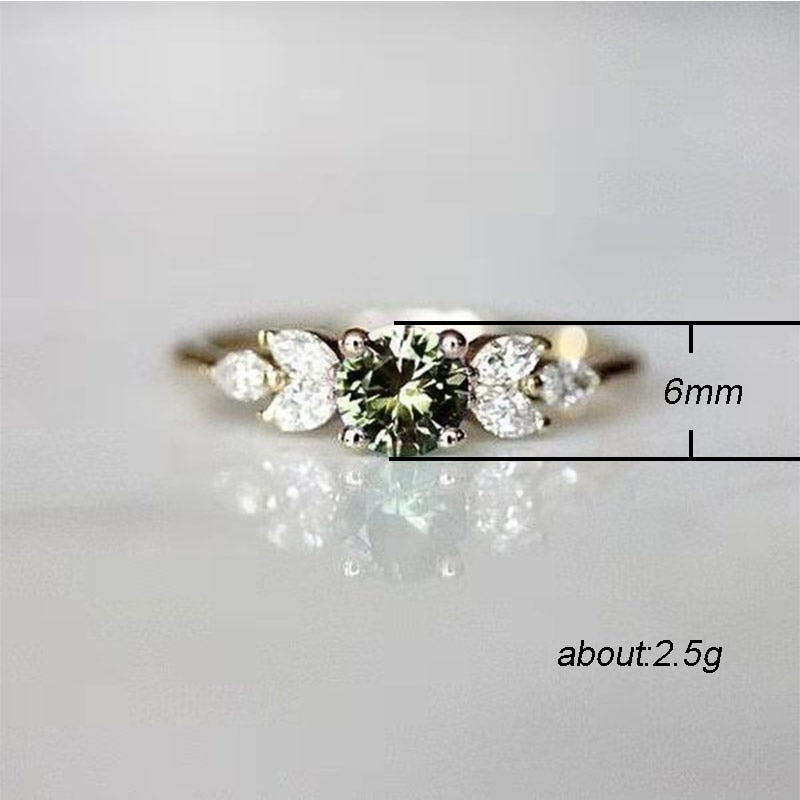 Elegant   Delicate Women Wedding Ring Olive Green Round Zircon with Leave Shape