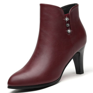 Genuine Leather Crystal Ankle Boots