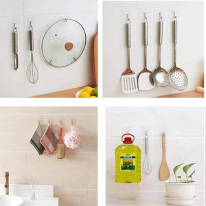 20Pcs Transparent Strong Self Adhesive Door Wall Hangers Hooks Suction Heavy Load Rack Cup Sucker for Kitchen Bathroom - soqexpress