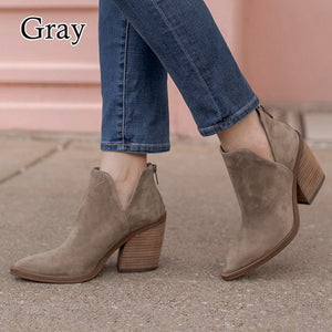 Fashion  High Heels Women Ankle Boots  Pointed Toe