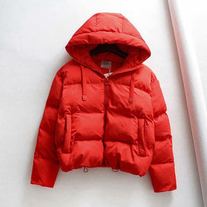 Hooded Solid Puffer Coat