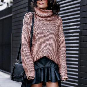 Warm Knitted Oversized Pullover Turtleneck Sweater For Women's