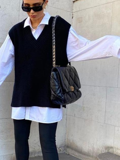 Casual Vests Loose Outwear Solid Sweater