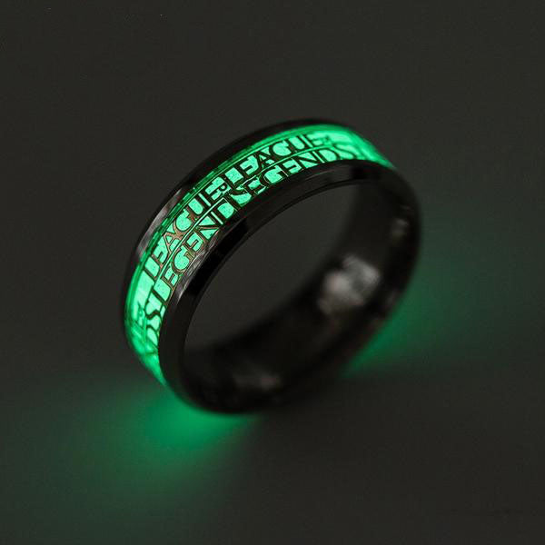 League of Legends the Popular Game Men's Stainless Steel Ring Glow in the Dark