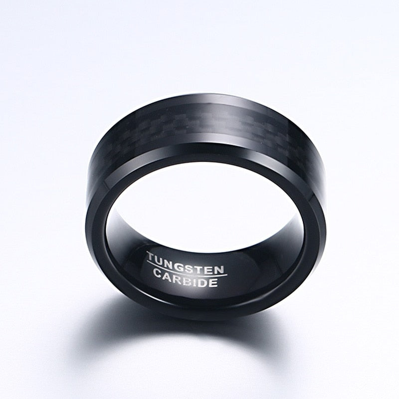 Meaeguet Black Carbon Fiber Tungsten Carbide Ring For Men