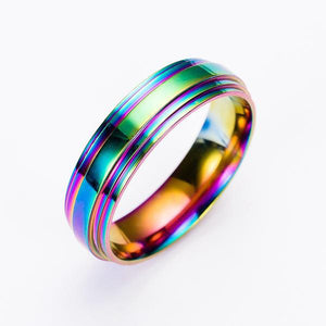 Unisex Rainbow Stainless Steel Ring