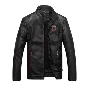 Motorcycle PU Leather Male Winter Bomber Jackets Outerwear Faux Leather Coat