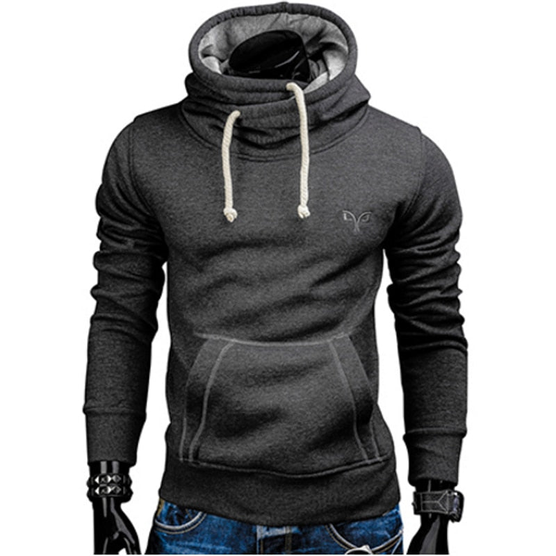 Men Fashion Brand Pullover Solid Color Turtleneck Sportswear