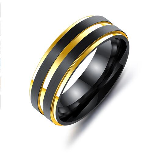 Unisex 7 MM Black Titanium Rainbow Double Groove Ring