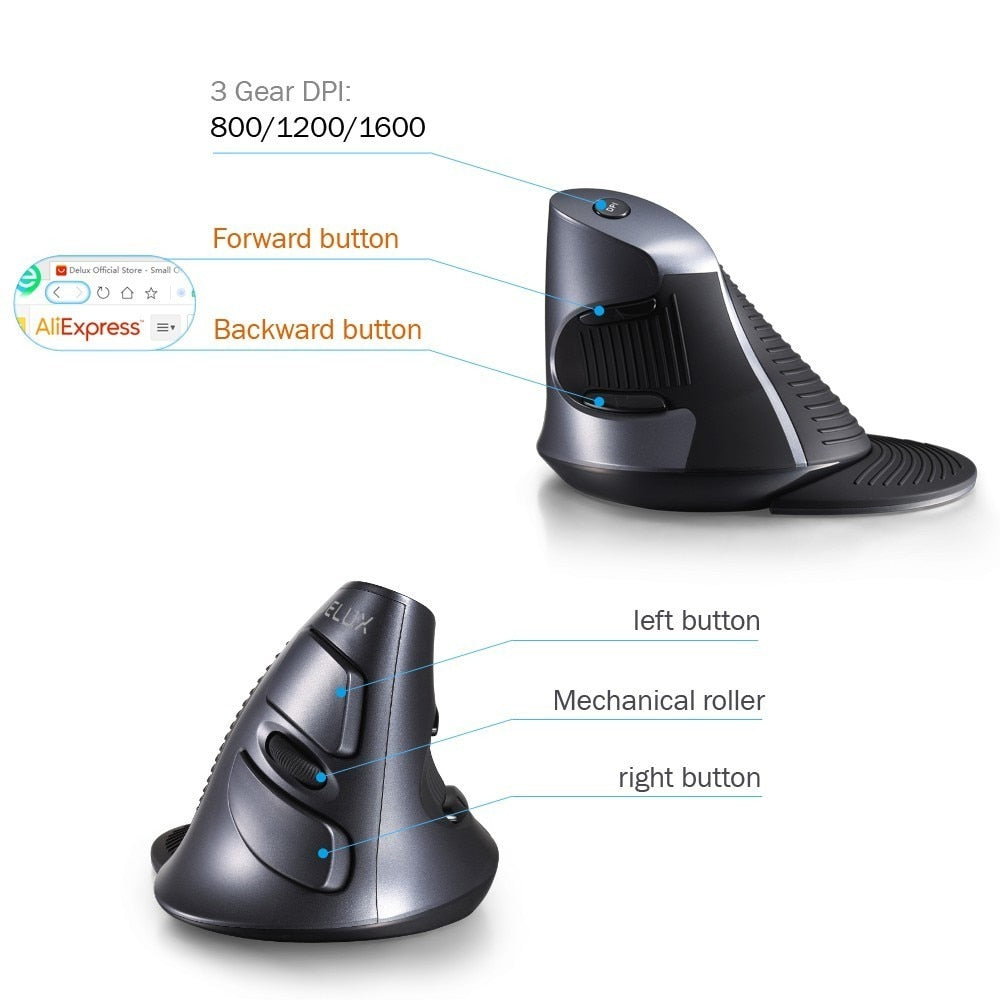 Deluxe Ergonomic Vertical Wireless Mouse 6 Buttons 1600DPI Optical Mouse With 3 Colors