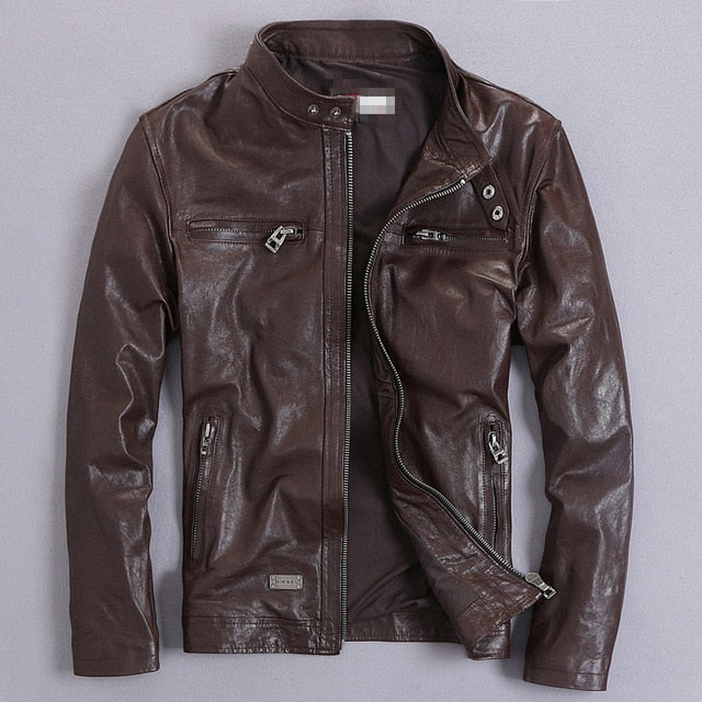 Men's Genuine Leather Jacket Short Slim Motorcycle Jacket