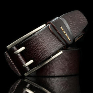 Vintage style pin buckle cow genuine leather belt for men