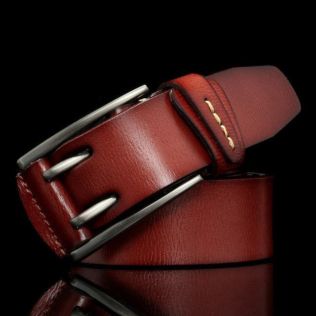 Vintage style pin buckle cow genuine leather belt for men - soqexpress