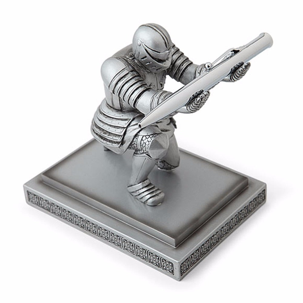 Pack Cool Classic Resin Knight-Kneeling Pen Holder & Pen Stand for Office