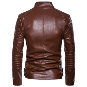 Men's Classic Police Style Motorcycle Leather Jacket