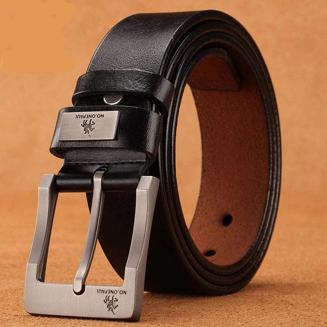 Genuine leather luxury strap belt for man