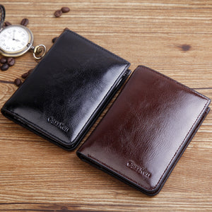 High Quality Designer Oil wax Leather Short Coin wallet
