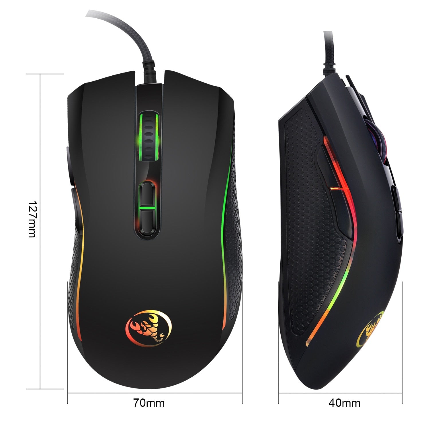 Hongsund brand High-end optical professional gaming mouse with 7 bright colors LED