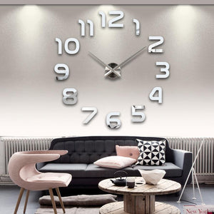 3D MIRROR STICKER WALL CLOCK