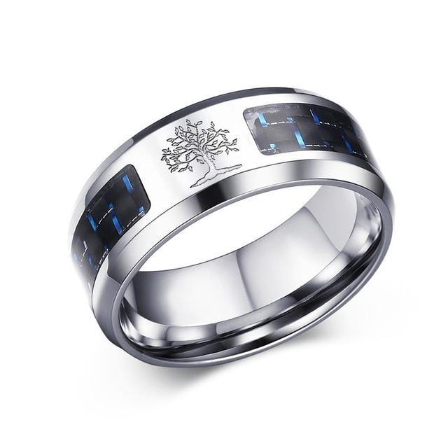 8 mm Personalize Carbon Fiber Ring For Man | Tree Of Life Pattern |Stainless Steel